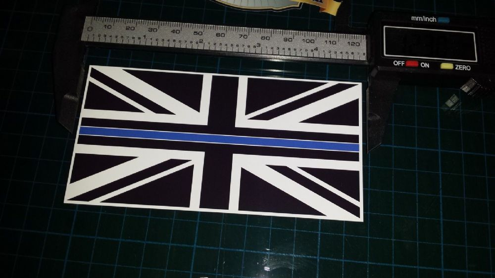 Thin Blue Line Police Union Jack Black White Blue Colour